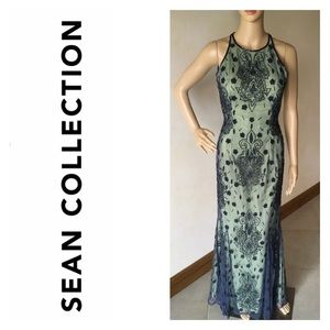 SEAN COLLECTION GREEN EMBELLISHED FORMAL GOWN PROM